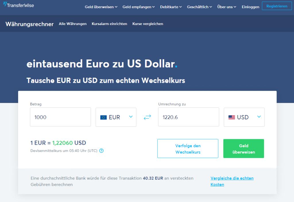 Währungsrechner bei Transferwise