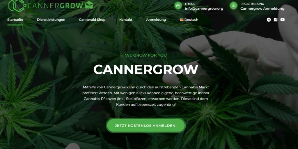 auf der Webseite von Cannergrow werden das Firmenmotto und cannabis pflanzen gezeigt