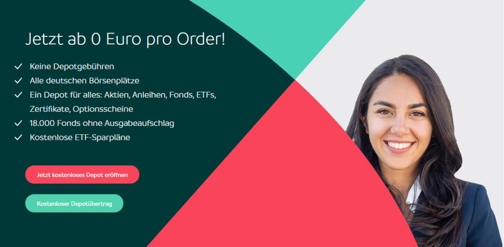 Eine junge Frau lächelt über das Angebot: Jetzt ab 0 Euro pro Order bei Smartbroker